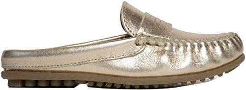 Mules Metallic Leather - Minnetonka Womens Kate Mule Leather Slip-On, Rose Gold Metallic Leather, 6 M US