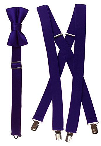 Tuxgear Baby-Boys Bow Tie and Suspender Set Combo, Plum Purple, Toddler 25 Inch (25