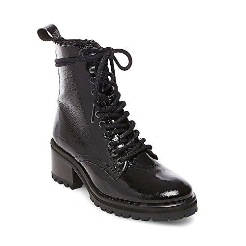 Steve Madden Women's Geneva Combat Boot, Black Patent, 10 M US