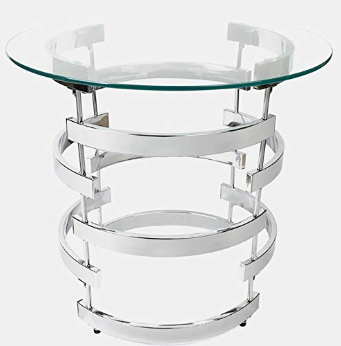 Curvaceous Steel Base End Table - End Table with Round Glass Top - Chrome