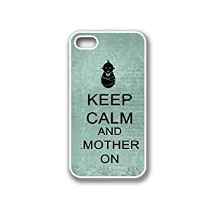 Keep Calm And Mother On Teal Floral - Protective Designer WHITE Case - Fits Apple iPhone 4 / 4S / 4G