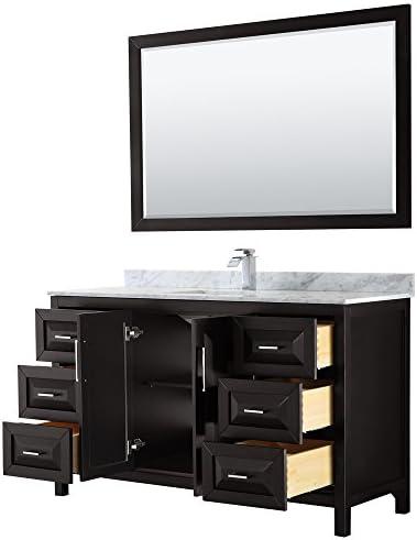 Wyndham Collection Daria 60 inch Single Bathroom Vanity in Dark Espresso, White Carrara Marble Countertop, Undermount Square Sink, and 58 inch Mirror