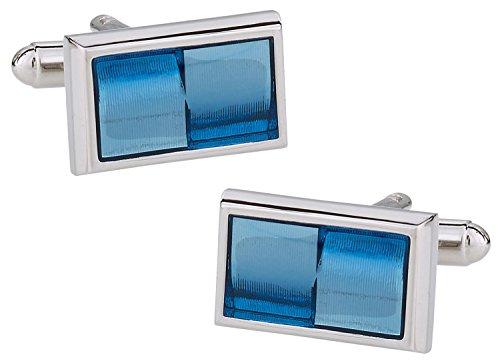 - Cuff-Daddy Rectangular Blue Gradient Cufflinks with Presentation Box