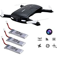 Kingtoys WIFI FPV Drone With Adjustable HD Camera - Automatic Altitude Hold/Headless Mode/One Press Return 2.4GHz 6-Axis Gyro Foldable Pocket Selfie Quadcopter with 3 pcs 500mah Original Batteries