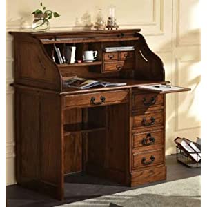 Small Home Office or Student Roll Top Desk- Solid Oak Wood Single Pedestal 42Wx24Dx45H BW Organizer Desk Quality Crafted…