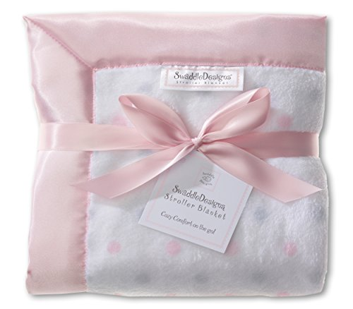 Satin Trim Microfleece Baby Blanket - SwaddleDesigns Stroller Blanket, Cozy Microfleece, Pastel Pink and Sterling Dots with Satin Trim