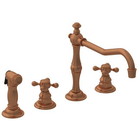 Newport Brass 943 Chesterfield Double Handle Widespread Kitchen Faucet with Side, Antique ()