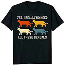 Cat Lover Shirt Retro Yes I Really Do Need All These Bengals