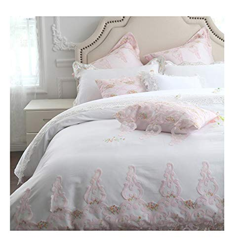 (Slowly Mist White Egyptian Cotton Princess Bedding Set King Queen Size Girls Decorative Bed Set Pillows Bed Sheet/Linens Duvet Cover Set,Bedding Set 1,King Size)