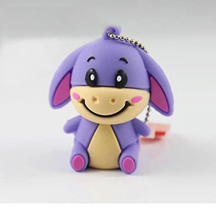 Cute Lovely Baby Eeyore style USB Flash Drive - Data Storage Device - 4GB - Key Ring Included - Purple