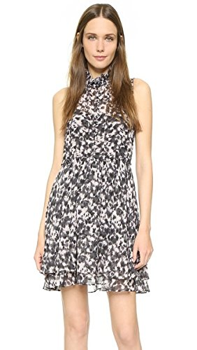 Rachel Zoe Women's Cruz Button Front Pleated Dress, Black Multi, 6