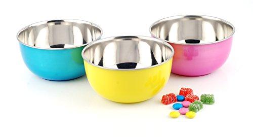 LIEFDE Transparent Plastic Coated Microwave Safe Stainless Steel Bowl  Set of 3  16 cm