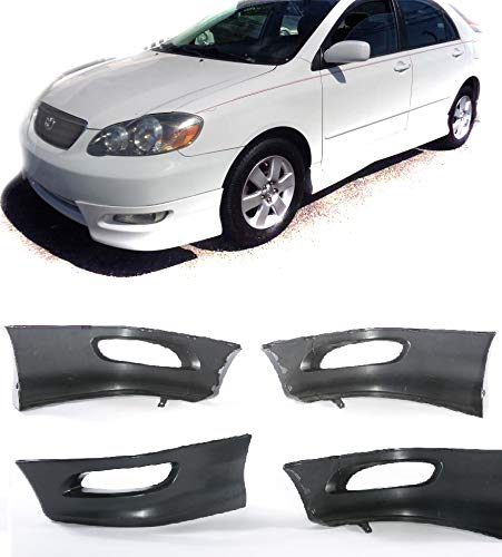 Compatible with 05 06 07 08 Toyota Corolla Replacement for S Style Front L+R Lower Body Kit Lip Spoiler PP Black 2005 2006 2007 2008