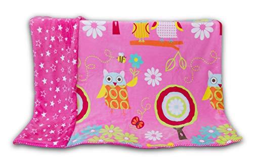 White Owl Girl (Elegant Home Kids Soft & Warm Reversible Baby Toddler Girl 2 Ply Blanket Pink Green Blue White Owl Floral Design Printed Stroller or Toddler Bed Blanket Plush Throw 40X50# Pink)