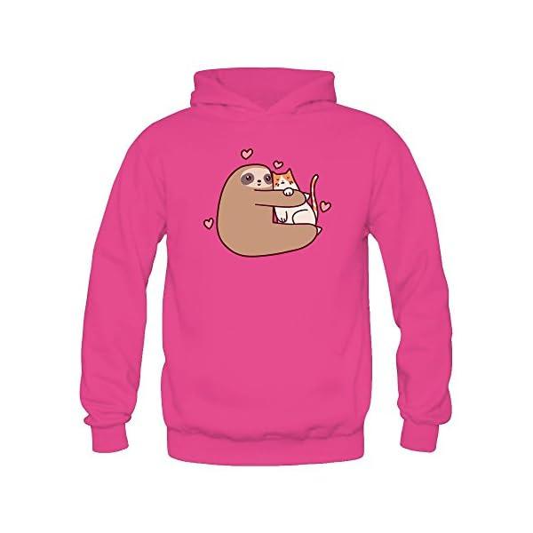 Lovelin Women'S Sloth Loves Cat Diy Long Sweatshirts Hoodie -