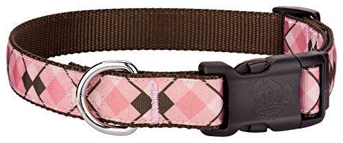 Country Brook Design | Deluxe Pink and Brown Argyle Ribbon Dog Collar - Small (Argyle Ribbon Grosgrain)