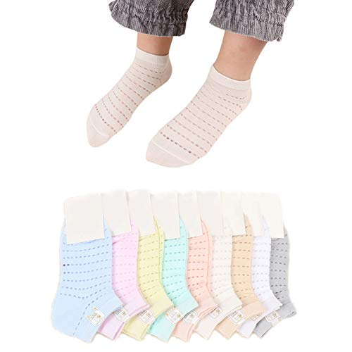 10 Pairs Toddler Baby Girls Boy Solid Mesh Thin Breathable Cotton Summer Ankle Socks 10 Color 3-6T