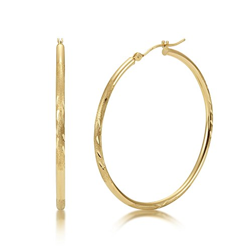 Satin Diamond Cut 14k Yellow Gold 2mm x 40mm Click Top Tube Hoop Earrings - By Kezef Creations 14k Yellow Gold Satin Hoop