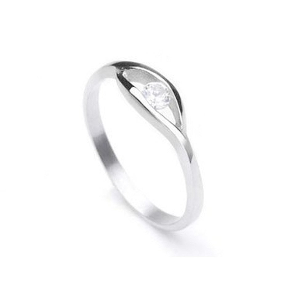 Single CZ Stone Stainless steel ring - 3mm AA cubic zirconia. Womens Rings. Promise Eternity Trinity Rings / Purity Ring or Anniversary Gifts for her. Poesy Commitment Ring. I Love you Gifts. (7)