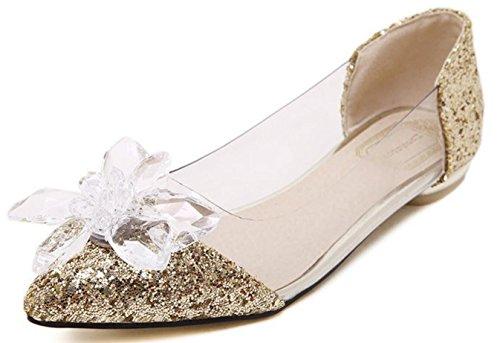 CYGG Nuevo JC Tip Diamond Flat con zapatos de mujer Cinderella Crystal Transparente Casual Low Shoes gold