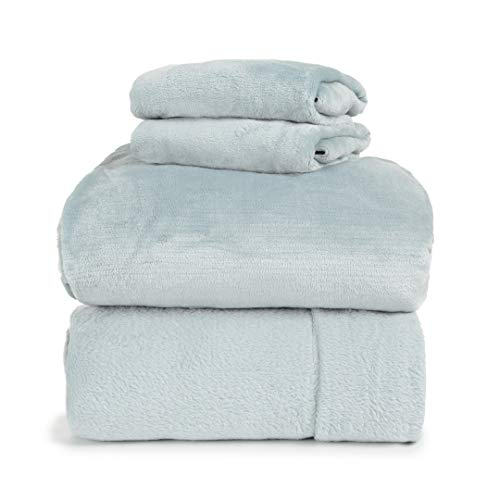 (Spyder Insulated Warm Fleece Flannel Plush Sheet Set Pillow Case Flat & Fitted Sheet (ICY Blue, Full) )
