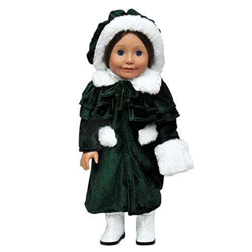 The Queen's Treasures 1914 Style Winter Coat, Cape, Doll Hat and Muff Outfit is Perfectly Sized to Fit 18 inch American Girl Doll Clothes & Accessories - Kid Sized Black Velvet Cape