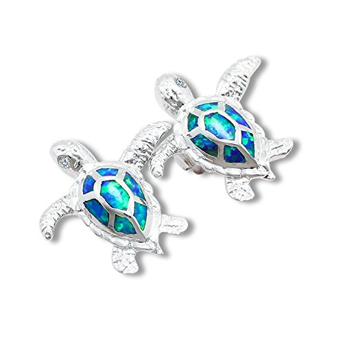 Yoodeet Jewelry Silver Plated Blue Opal Sea Turtle Stud Earrings for Women (blue turtle) (Studs Sea Blue)