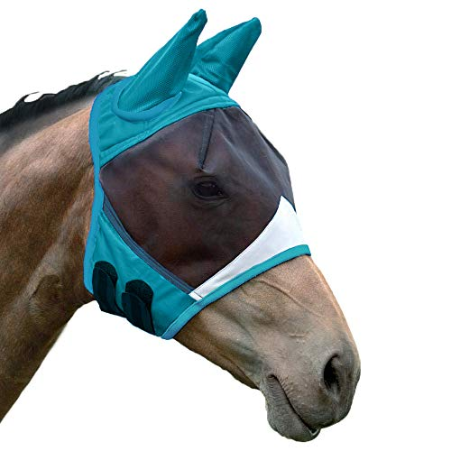Shires Fine Mesh Fly Mask with Ears Teal Full