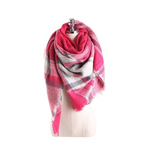 HITOP Women Tartan Scarf Stole Plaid Blanket Checked Scarves Wraps Shawl (Pink)