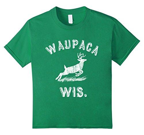 Kids Waupaca Wis Deer T Shirt 12 Kelly Green