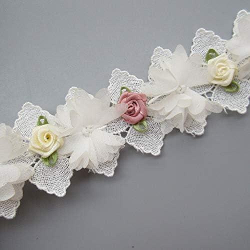 Embroidered Fabric Dress Sewing Trim Lace DIY Wedding Flower 1Yard Craft Ribbon