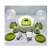 Gland Nibble Double Electric Breast Pump Breastfeeding Pump for Nursing Moms BPA Free (Green in milk white)