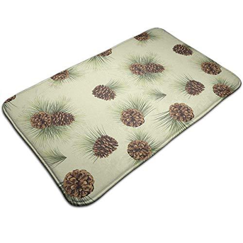 Memory Foam Bath Mat, Cute Pinecone Bathroom Mat Anti Slippery Absorbent Door Floor Mat Indoor/Outdoor/Front Entrance Welcome Doormat(50 X 80 cm)