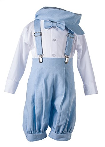 Light Blue Linen Vintage Knicker Outfit for - Blue Light Linen Boys