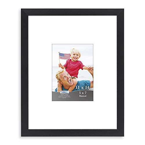 Icona Bay 11x14 Black Frame with Mat for 5x7 Photos (1 Pack, Black), Sturdy Wood Composite Frame, Tabletop and Wall Hang Hardware Included with Black Picture Frames, Liberty Collection