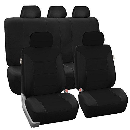 (FH Group FB065BLACK115 Black Classic Khaki Car Seat Cover (Full Set Airbag Ready and Split Bench))
