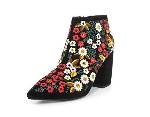 Jeffrey Campbell Womens Total Ankle Black Floral Boot - 8.5 ()