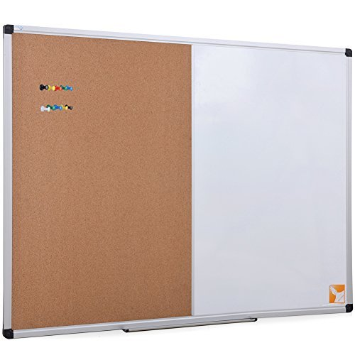 XBoard Magnetic whiteboard 36 x 24 - Combo Whiteboard Dry Erase Board/Cork Board 36 x 24, Magnetic White Board + Corkboard with Aluminum Frame, 10 Colorful Push Pins & Marker Tray Included