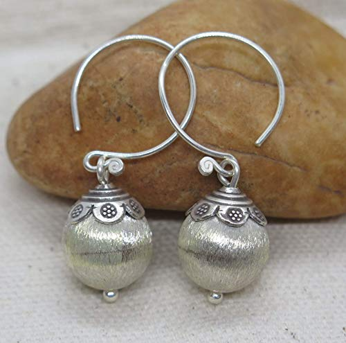 Sterling Silver Small light Brushed Shinny Hook Earrings, Handmade Ball Bead Dangle Earrings with Ethnic deco