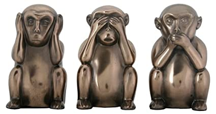 "3 Wise Monkeys Hear Speak See No Evil Detailed Figurine Miniature 4/""H New in Box"