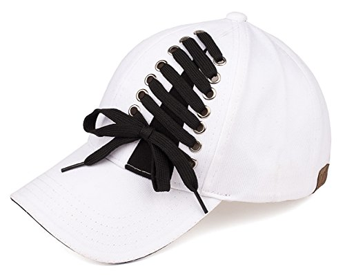 H-6715-09 Lace Up Baseball Cap - White (Lace Up Cap)