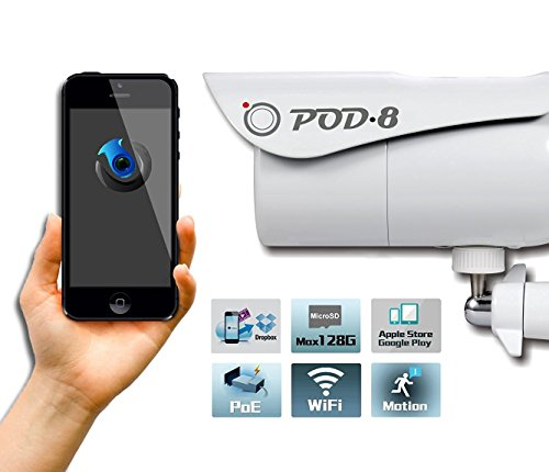 Pod-8 2 Megapixel HD 1080P Wi-Fi Wireless Network IP66 Waterproof Outdoor/Indoor PoE Bullet Home Security Camera System Pd-330PW with Night Vision for iPhone, iPad, Android Smart Phone, PC, Mac