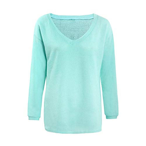 - Cenglings Women's Plus Size Knitted Sweater V-Neck Winter Loose Long Sleeves Puff Sleeve Pullover Blouse Green
