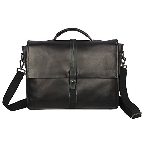 Men's Leather Business Laptop Bag With Flap With Long Handle by Zoa Black by Zoa