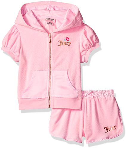 Juicy Couture Girls' Big 2 Pieces Hoody Shorts Set, Pink 12 -