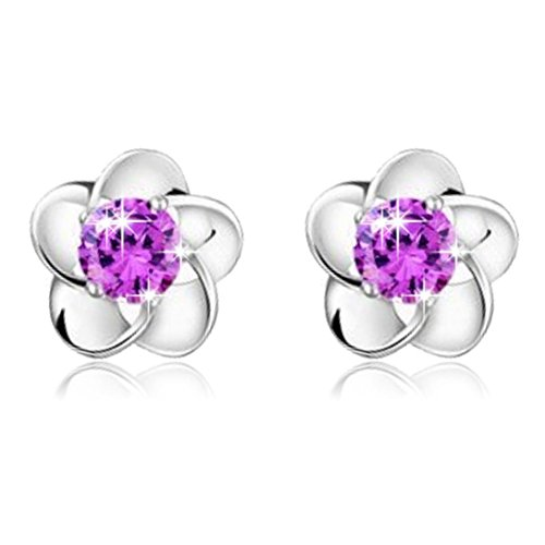 Price comparison product image 925 Silver Earrings,Hemlock Women Lady Rose Flower Earrings (Purple)