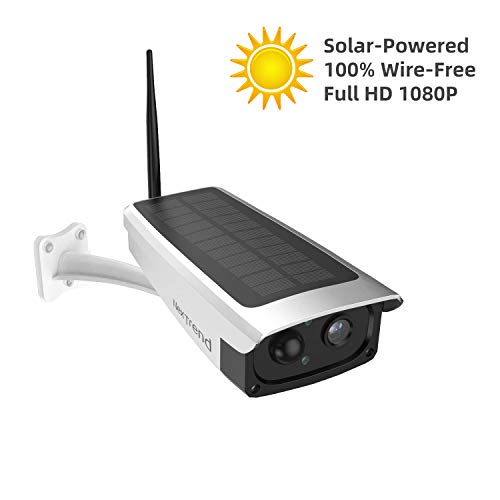 Solar Powered Battery Security Camera, NexTrend Outdoor 1080P Home Wireless WiFi IP Cam w/Build-in 6600mAh Battery, PIR Alarm Alerts, Night Vision, Two-Way Audio, Support TF Card& Cloud Service