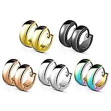 SPARKLE XOXO 5 Pairs Set Classic Plain Dome Hoop Huggie Stainless Steel Earrings 4mm unisex hoops