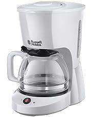 Russell Hobbs Textures kaffebryggare, upp till 10 koppar, 1.25l glaskanna, automatisk avstängning, vattennivåindikator, droppstopp, 975W, filterkaffe, vit, 22610-56