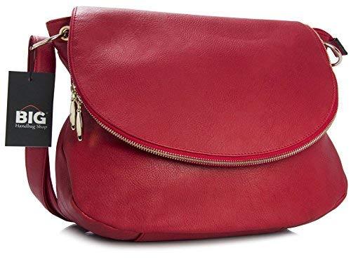 Red Size Boby Bag Shop Big Shoulder Designer Medium Vegan Zip Handbag Round Leather Bucket Cross g4q16Ug